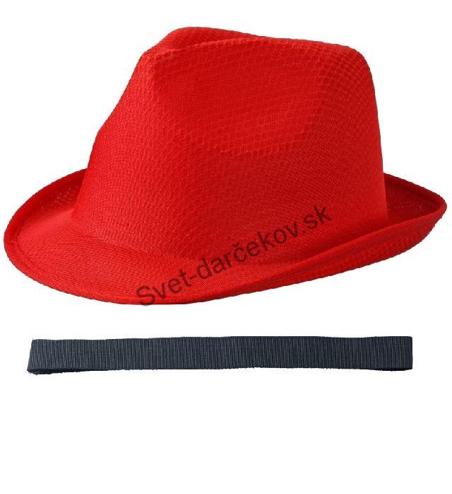 7392e0b39 Letný červený klobúk s čiernym lemom